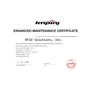 Impinj Enhanced RFID Maintenance Program